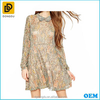 Korean Fashion Casual Dress The Latest Design Print Long Sleeve O Neck Dress For Young Girls'