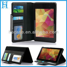 7 inch tablet leather wallet case for google nexus 7 ii