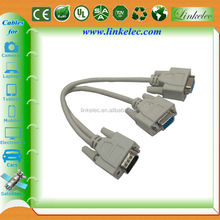 Factory supply gold plated high speed 15pin vga to double vga splitter cable