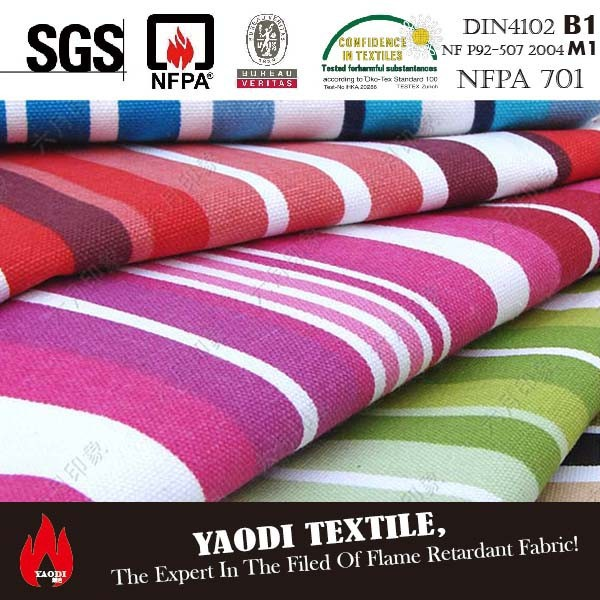 Best sale 100% cotton canvas printed stripe curtain fabric