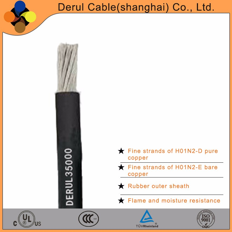Flexible welding electrical cable with rubber insulation