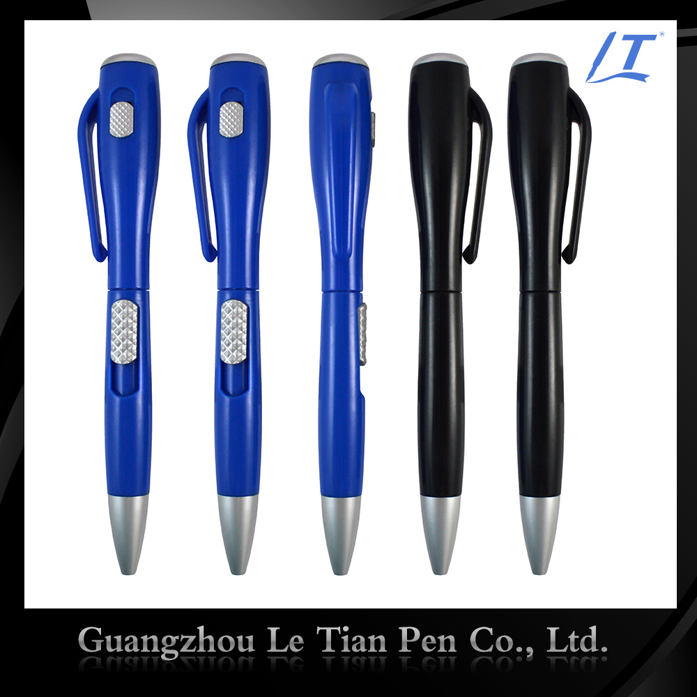 Guangzhou Le tian Pen Factory Promotional Pocket clip led light pen with flashlight