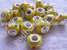 wholesale fashion large hole lampwork glass bead,lampwork glass beads,European glass large hole beads jewelry