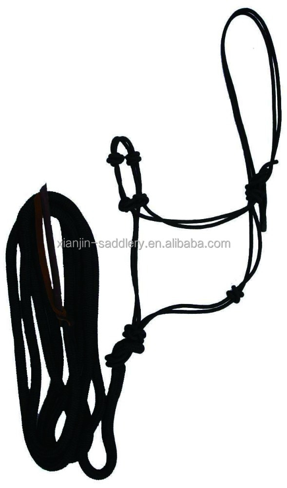 H2005 Train Nylon Rope adjustable Horse Halter/headcollar with lead rope with leather