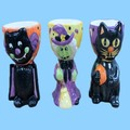 Halloween Candy Dish Holder Black Cat Witch Ceramic Flower Pot Wholesale