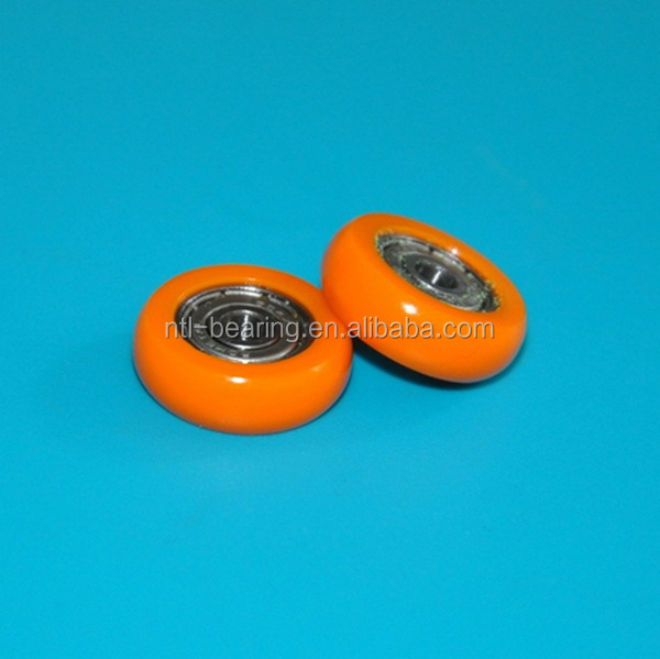 Small plastic pulley wheel with ball bearing