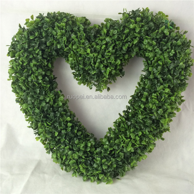 wholesale plant heart shape artificial boxwood wreath