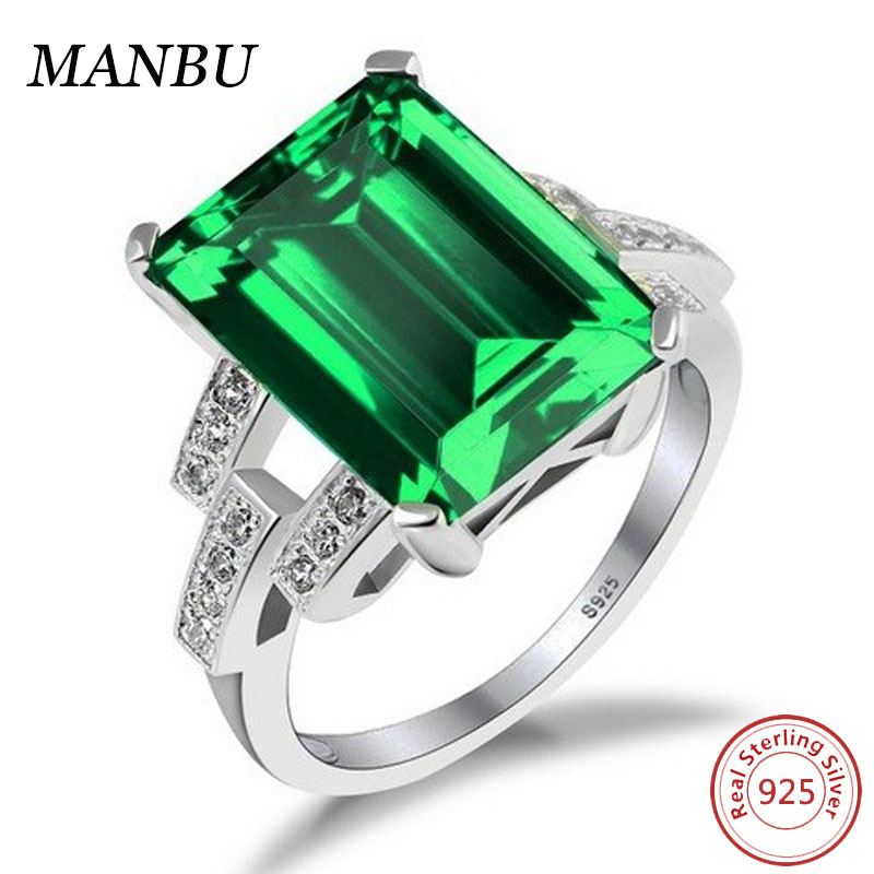Women's 6.46ct Emerald Cut Created Green Nano Emerald Gem Ring