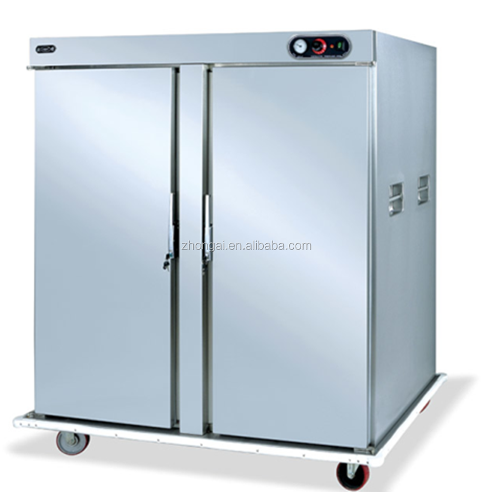 Mobile double Door Electric Food Warmer Cabinet /Electric stainless steel Food Warmer Trolley