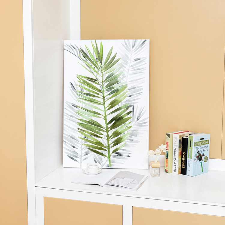 Palm leaf design canvas painting room decoractive wall painting
