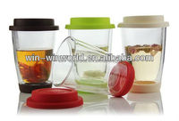 2014 New Products Colored Silcone Double Wall Pyrex Glass Tumbler