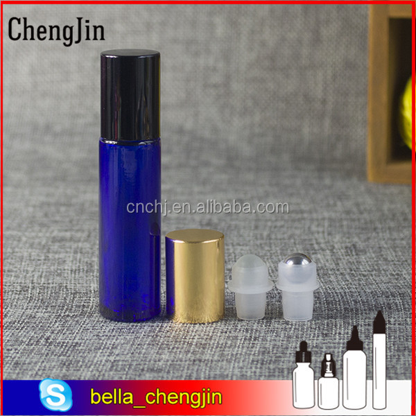 Stainless Steel Metal Glass Roller Ball 10ml Cobalt Blue Roll on Bottles