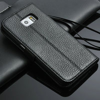 2016 genuine cow leather flip case pouch cover wallet for samsung galaxy s6 edge with card holder