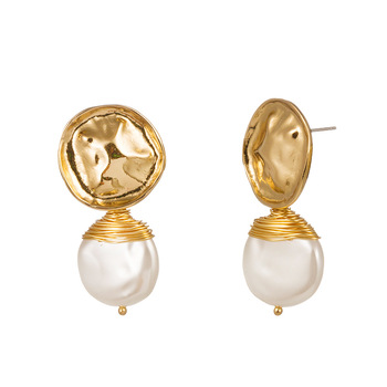 Romantic real pearl gold earrings women twist earrings