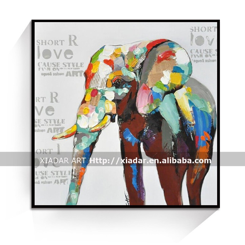 Cartoon elephant oil painting for living room wall decorative/modern oil painting on canvas