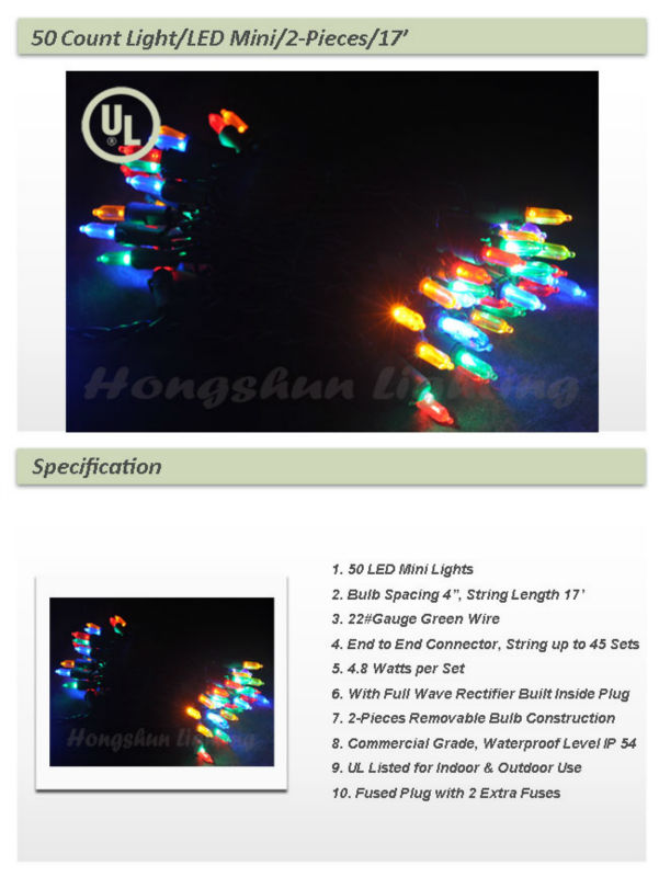 Factory Wholesale Cheap Christmas String Lights 50 Count LED Mini Lights