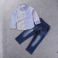 SFL1510064 New Fashion 2-7 Years Old Children'S Clothing Boys Summer Causl Hit Color Striped Long-Sleeved Shirt + Jeans Piece