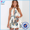 Women Clothing Fashion Vestidos plus size Sexy Dress Floral Print Cross Halter Backless Elastic Waist Mini Dress
