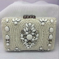 8626 PEARL Embroidered Beaded Hand-Made Lady fashion Bridal Wedding Party clutch bag Evening purse handbag case