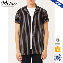 Wholesale Casual Yarn Dyed Stripe Linen Short Sleeve Mens Shirt