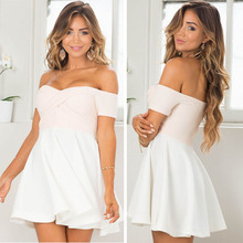 2016 new pure white off shoulder sexy women one piece girls party dresses