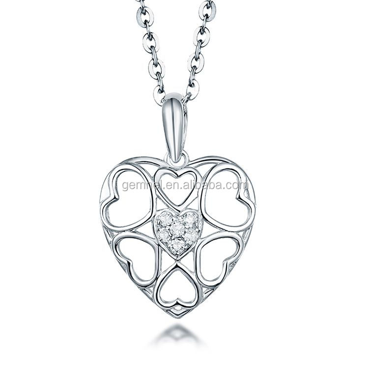 Gemnel new arrival fine gold plated heart pendant pretty necklace vintage