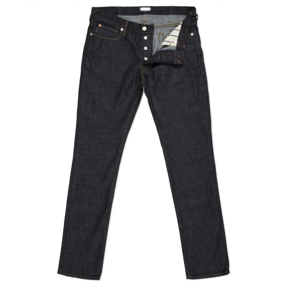 Men's Drainpipe-Fit Dark-Wash Raw Jeans