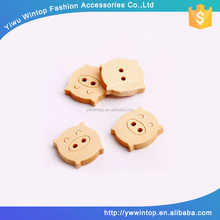 custom 2 holes pig shape natural wooden button for children
