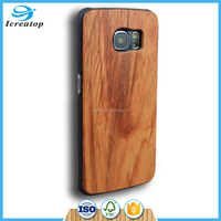 New coming Plain real Rose wood phone cases with PC back cover for samsung galaxy s6 edge