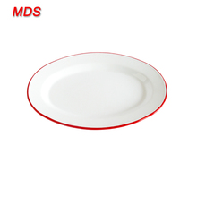 Wholesale hand-crafted 12inch porcelain enamel dinner plates with red rim