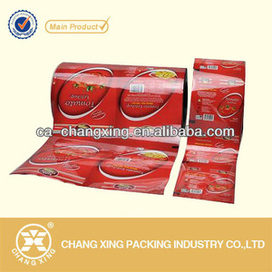 Food safety plastic tomato sauce packaging film roll for sachets