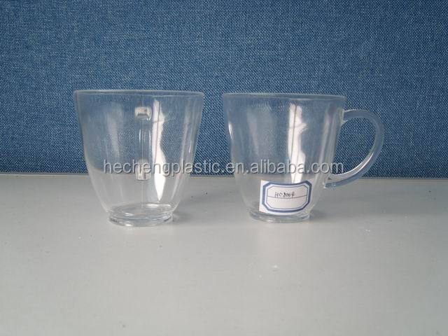 printed plastic small bottom cup with handle/acrylic mug