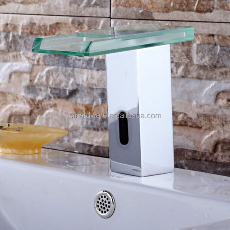 Contemporary brass polished waterfall basin sensor faucet