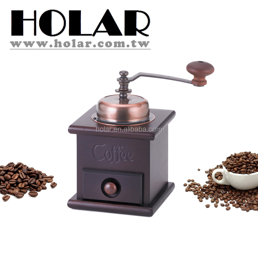 [Holar] 100% MIT Antique Brown Manual Coffee Mill with Rubber Wood & Cast Iron