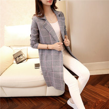 High Quality Long Cardigan Women Sweater 2017 New Autumn Winter Long Sleeve Knitted Plaid Cardigans Female Tricot Tops