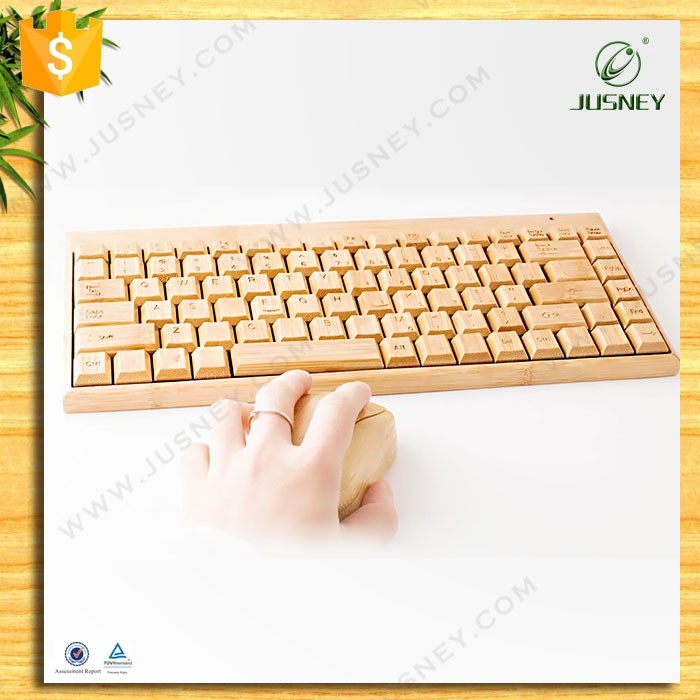 natural wireless USB bamboo keyboard with mouse combo