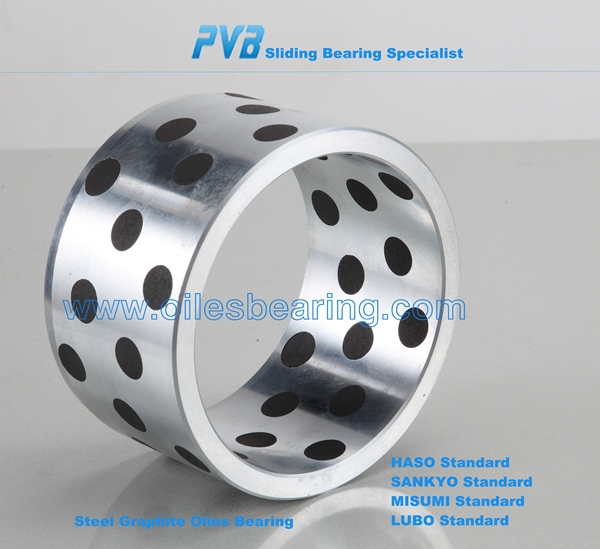 JIS Standard Oiles 500F cast iron Bearings with embedded Solid Lubricant Graphite Guide Bushing