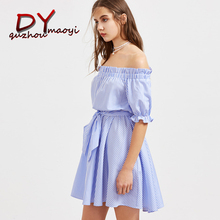 2017 new Fashion women sexy Slash Neck off shoulder Blue striped dress