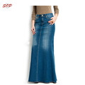 Latest women long straight maxi skirts denim