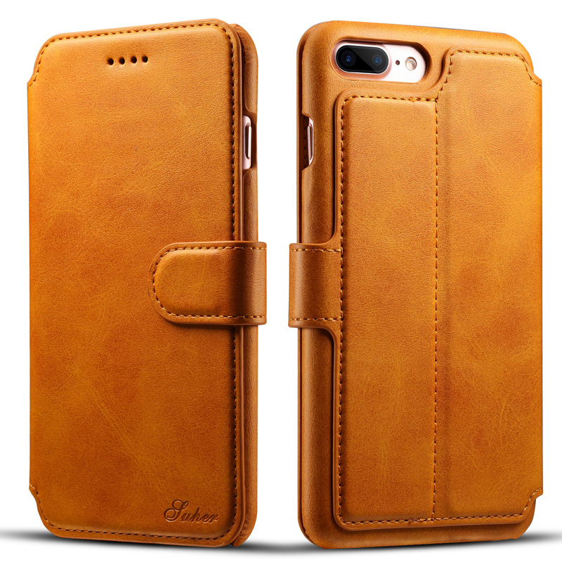 Grade AAA high quality 3 card slots luxury leather wallet case cover for iphone 7 plus from china factory