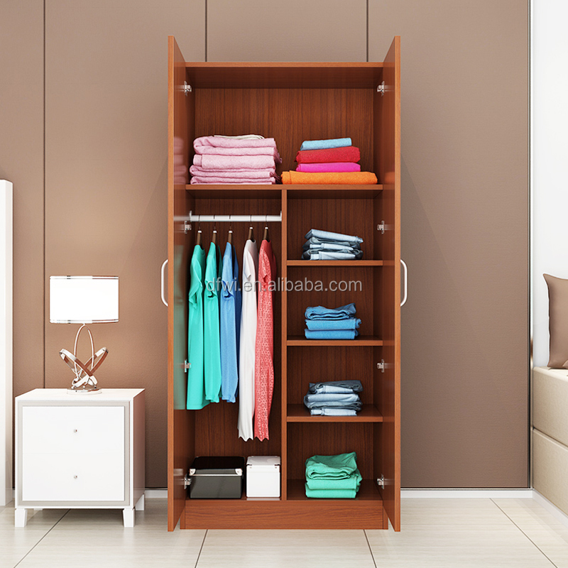 bedroom furniture Melamine particle board two doors wardrobe cabinet