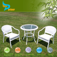 Double Leaf Elegant Design Funiture Rattan Outdoor 3 Pieces French Dining Table