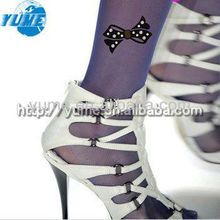 Colorful Leggings tattoo womens Pantyhose Tights lady silk stocking tattoo tights with Bowknot