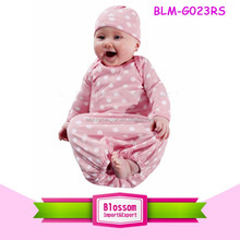 Infant Girl Take Home Outfit Pink White Polka Dots Layette Sleeper Gown Matching Beanie Latest Gown Designs