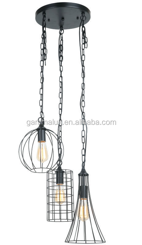 3 Different Style Wire Cage Pendant Lamp+Ceiling Pan,Hanging Lamp