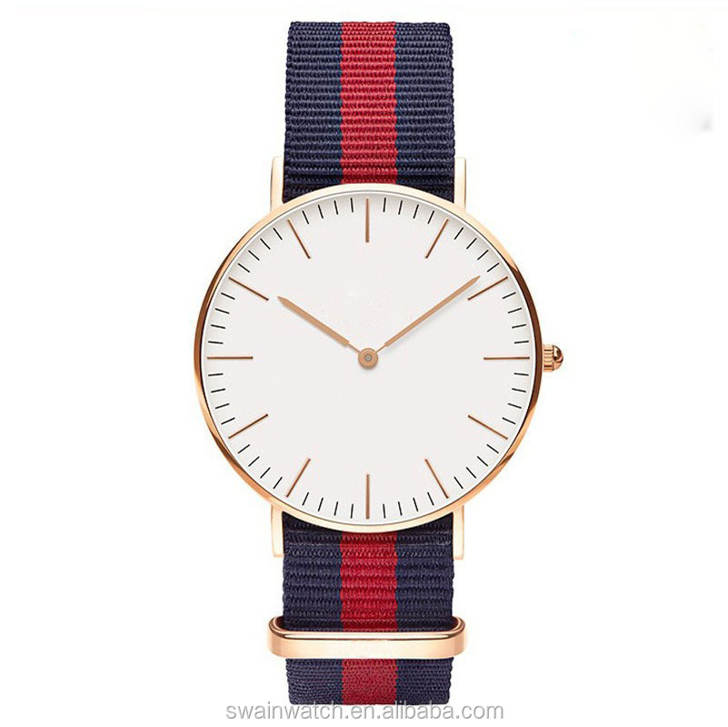 Luxury brand japan movement men watches 2016 wholesale colorful leather nylon strap wrist watch