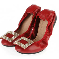 High quality red elegant shoes for women leather pocket flat shoes dropship fast shipping