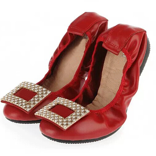 OEM High quality red elegant shoes for women leather pocket flat shoes dropship fast shipping