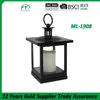 Square mini table and hanging plastic lantern with glass panels and LED candle ML-1908