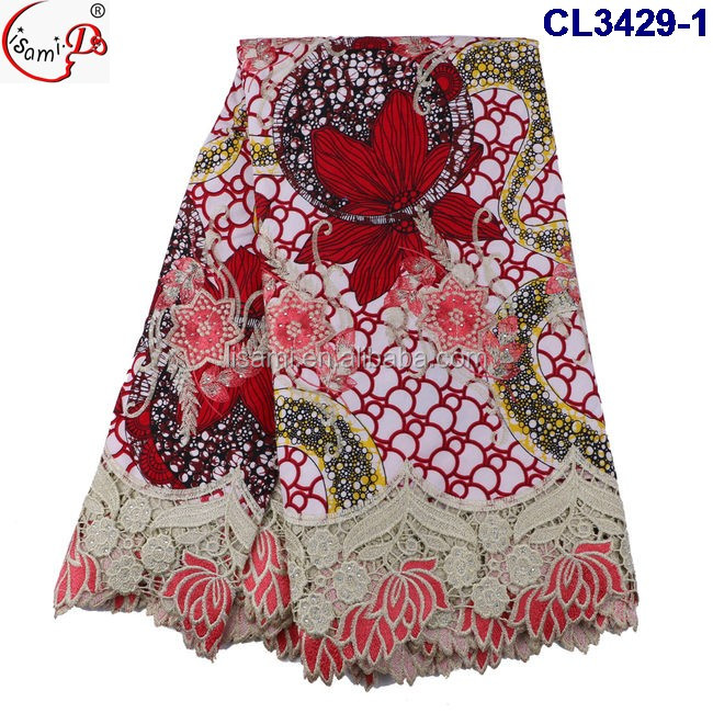 CL3429 2016 New arrival fashion bestselling ankara wax mix embroidery lace wax lace fabric for Christmas promotion